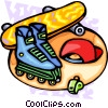 Vector Clipart graphic  of a sports/roller blading/skate boarding