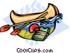 Vector Clipart picture  of a canoeing
