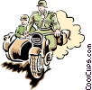 motorcycle in war Vector Clipart illustration