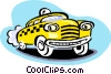 Vector Clipart picture  of a taxicab cartoon