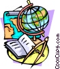 Navigation with globe, compass and map Vector Clipart image