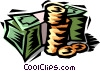 stack of money Vector Clipart illustration