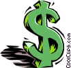 Vector Clipart graphic  of a dollar sign