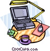 laptop computer on desk Vector Clip Art graphic