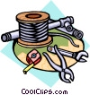 wire, pipe, and tools Vector Clip Art graphic