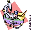 Vector Clip Art graphic  of a pharmacy equipment