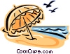 Vector Clip Art image  of a Beach umbrella and birds