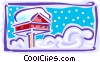 Vector Clip Art graphic  of a bird house in snow