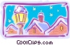 town and lamp in winter Vector Clipart picture