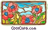 Vector Clipart picture  of a flowers - stain glass