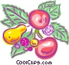 Vector Clip Art graphic  of a fruit and leaves