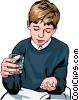 Boy taking pills - two Vector Clipart picture