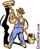 Vector Clip Art picture  of a old-fashioned painter - 2