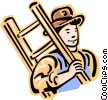 Old-fashioned man carrying ladder Vector Clipart picture