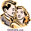 Vector Clipart graphic  of a Old-fashioned couple