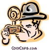 Vector Clip Art image  of a old-fashioned photographer - 2