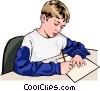 Vector Clip Art graphic  of a Boy writing in class