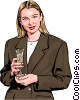 woman holding champagne Vector Clipart graphic