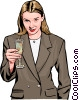 Vector Clipart picture  of a Woman toasting with champagne