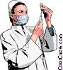 Vector Clip Art picture  of a Vet preparing injection