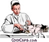vet bandaging cat Vector Clipart image