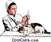 vet preparing injection for cat Vector Clipart picture
