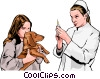 vet preparing to inject dog Vector Clipart graphic