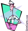 50's ice-creamer parlor waiter - abstract Vector Clipart graphic