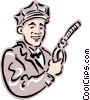 Old-fashioned gas attendant Vector Clipart illustration