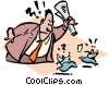 Businessman chases little men away Vector Clip Art picture