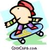 skateboarder - cartoon Vector Clipart illustration