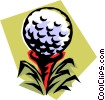 Vector Clip Art graphic  of a golf ball on tee