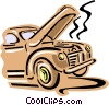 Old fashioned car overheating Vector Clipart graphic