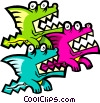 cartoon dragons Vector Clipart picture