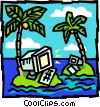 Vector Clip Art graphic  of a Computers on deserted islands