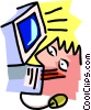 Vector Clip Art image  of a working at computer