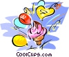birthday party/ice cream cone/balloons Vector Clip Art picture