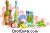 table top with various foods Vector Clipart picture