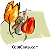 Vector Clipart image  of a tulips and windmill