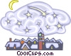 Vector Clipart image  of a winter town at night
