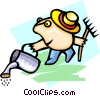 Vector Clipart picture  of a gardener - cartoon