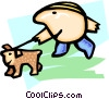 Vector Clipart graphic  of a walking the dog - cartoon