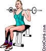 Vector Clipart image  of a Woman using barbell