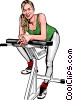 Woman on exercise bike Vector Clipart picture