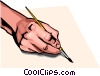 Vector Clipart graphic  of a hand with paint brush