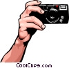 Vector Clip Art image  of a hand with camera