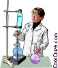 Vector Clipart graphic  of a Female chemist at lab