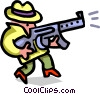 gangster with weapon - cartoon Vector Clip Art graphic
