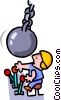demolition worker - cartoon Vector Clipart illustration