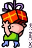 Vector Clipart image  of a Boy carrying birthday cake
